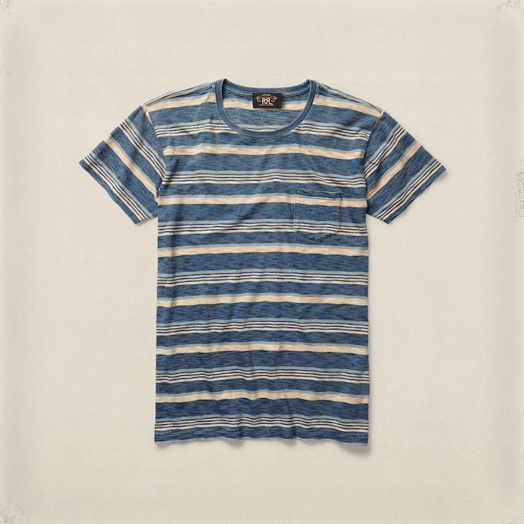 RRL indigo-striped tee