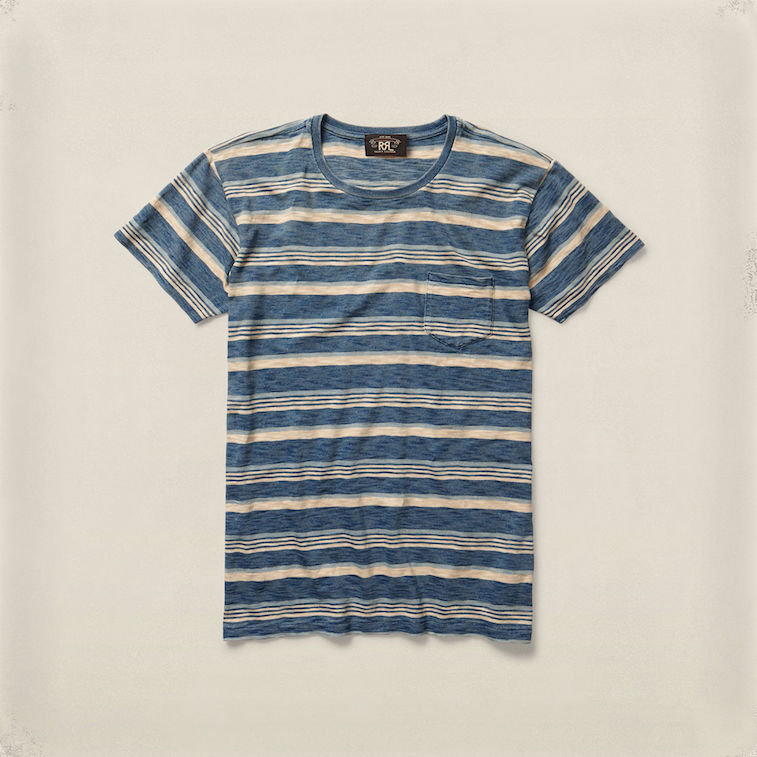 RRL indigo-striped tee