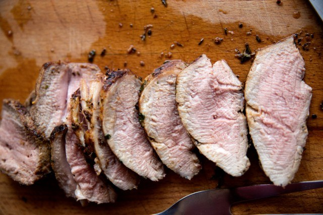 sliced, cooked pork tenderloin