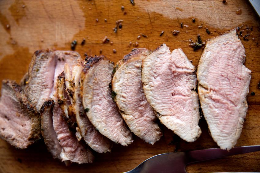 sliced, cooked pork tenderloin