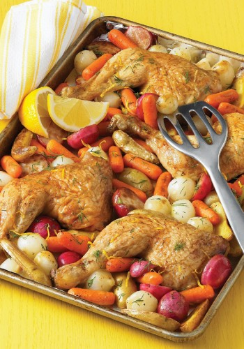 Roast chicken quarters with lemon-dill spring vegetables