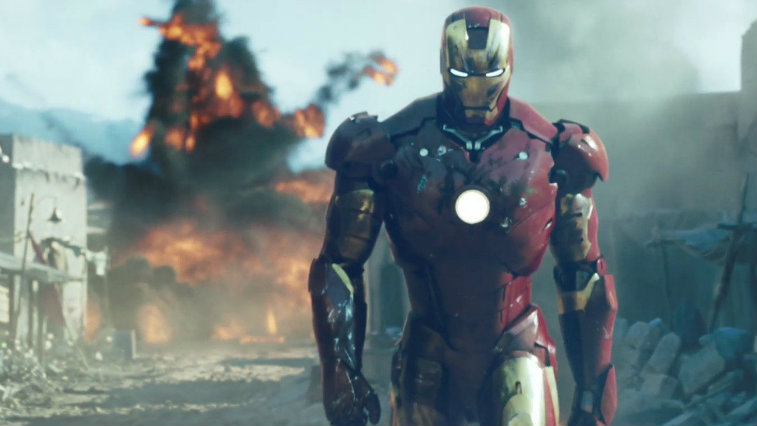 Robert Downey Jr's Iron Man walks away from an explosion