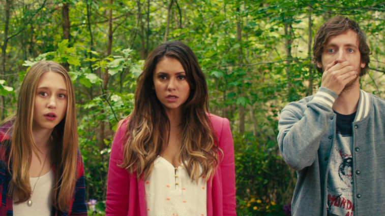 Taissa Farmiga, Nina Dobrev and Thomas Middleditch in The Final Girls