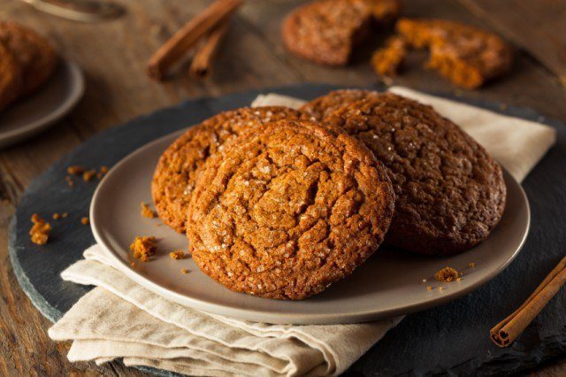 Homemade Gingersnap Cookies in a white plate