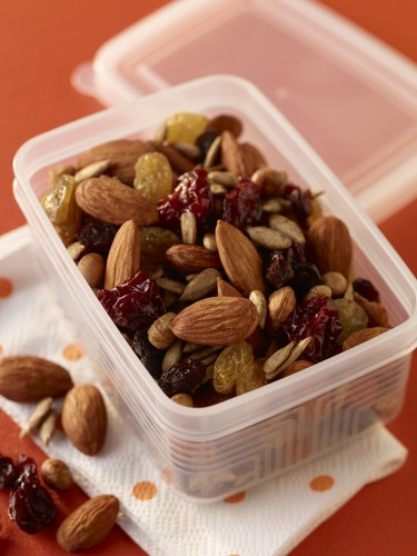 airtight container filled with almond trail mix