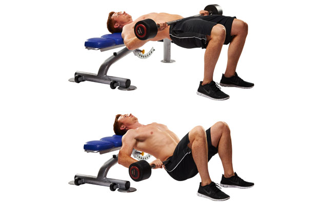 Man doing hip thrusts with weight