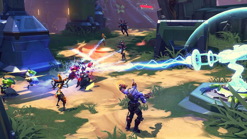 Good guys fighting bad guys in Battleborn.