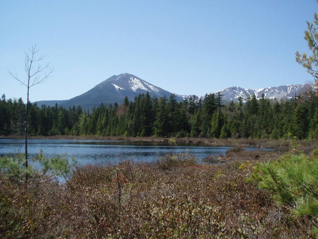 view of the lake and mountains at Baxter State Park in Maine