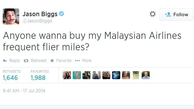 """Jason Biggs tweeted, """"Anyone wanna buy my Malaysian Airlines frequent flier miles?"""" on July 17, 2014"""