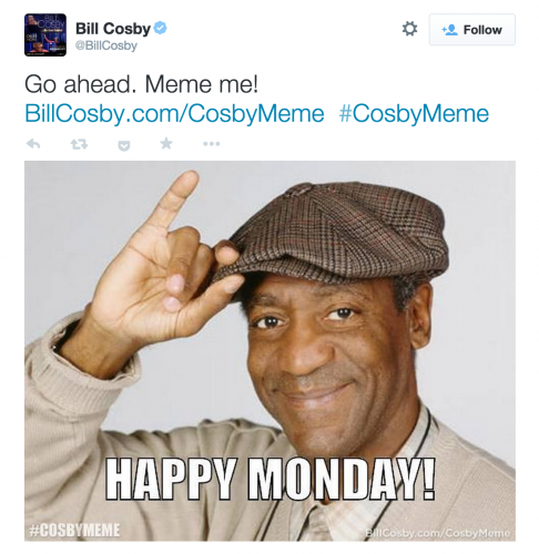 "Bill Cosby tweeted, ""Go ahead. Meme me! BillCosby.com/CosbyMeme #CosbyMeme"" on November 10, 2014"