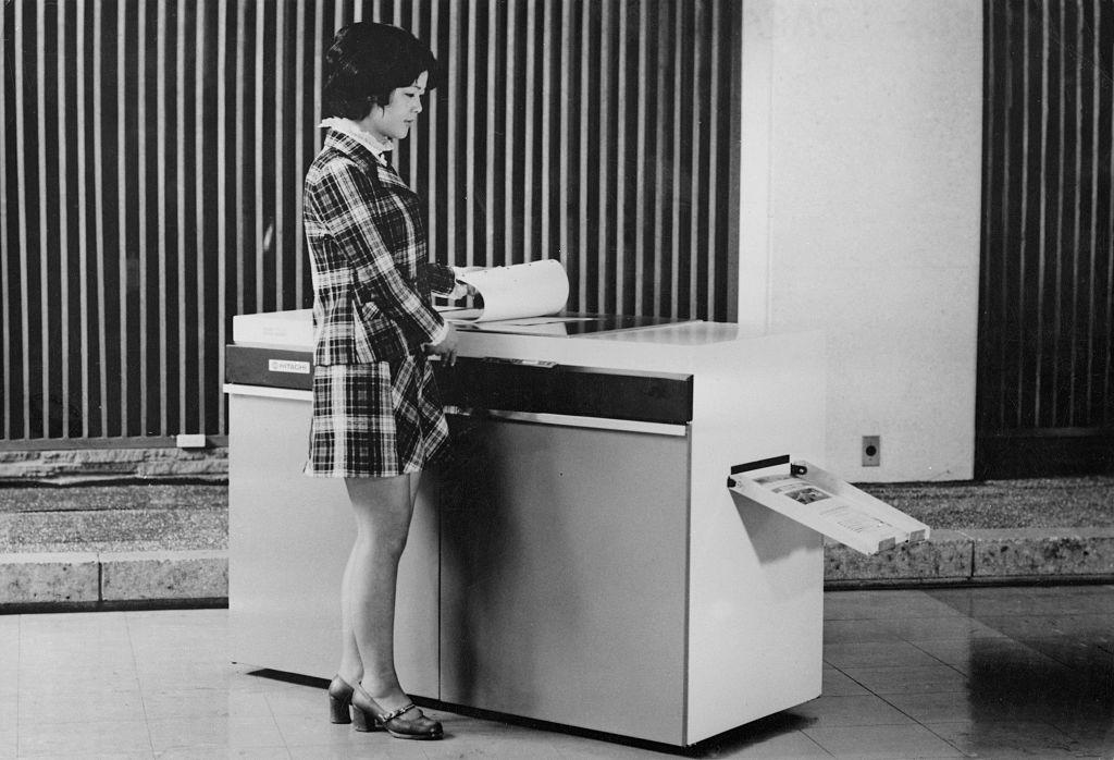 woman using a photocopier