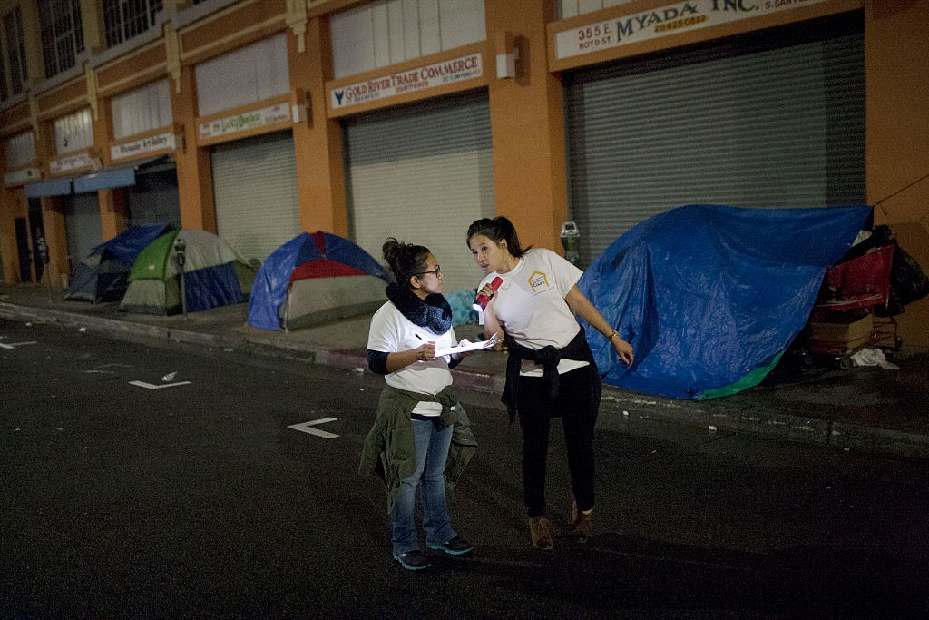 two women counting homeless people in los angeles
