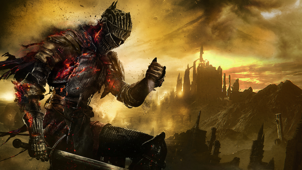 A glowing red knight stands before a gothic castle against a yellow sky Dark Souls 3