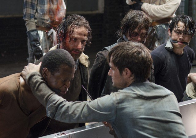Bob (Lawrence Gilliard Jr.), Rick (Andrew Lincoln), Daryl (Norman Reedus) and Glenn (Steven Yeun) have a near-death experience in 'No Sanctuary.'
