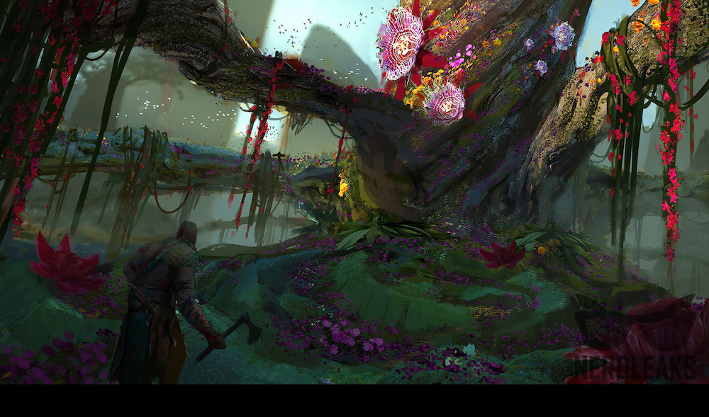 A hatchet-bearing Kratos walks through a colorful swamp land in what is apparently concept art for 'God of War 4'.