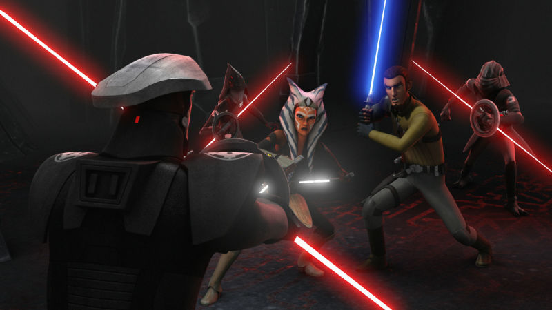 Everyone draws their light sabres to prepare for a fight in Star Wars Rebels Finale