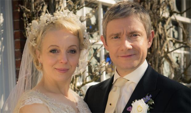 Martin Freeman and Amanda Abbington in Sherlock