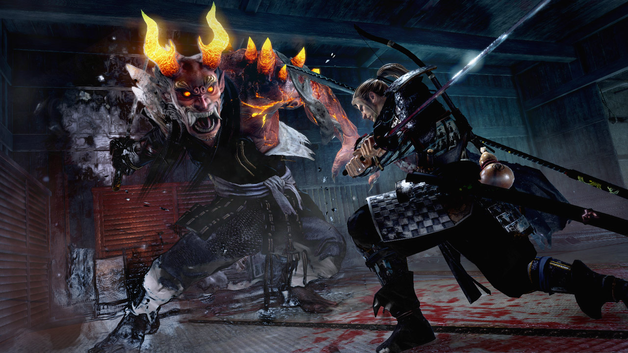 The hero of this action game faces off against a boss from Japanese folklore.