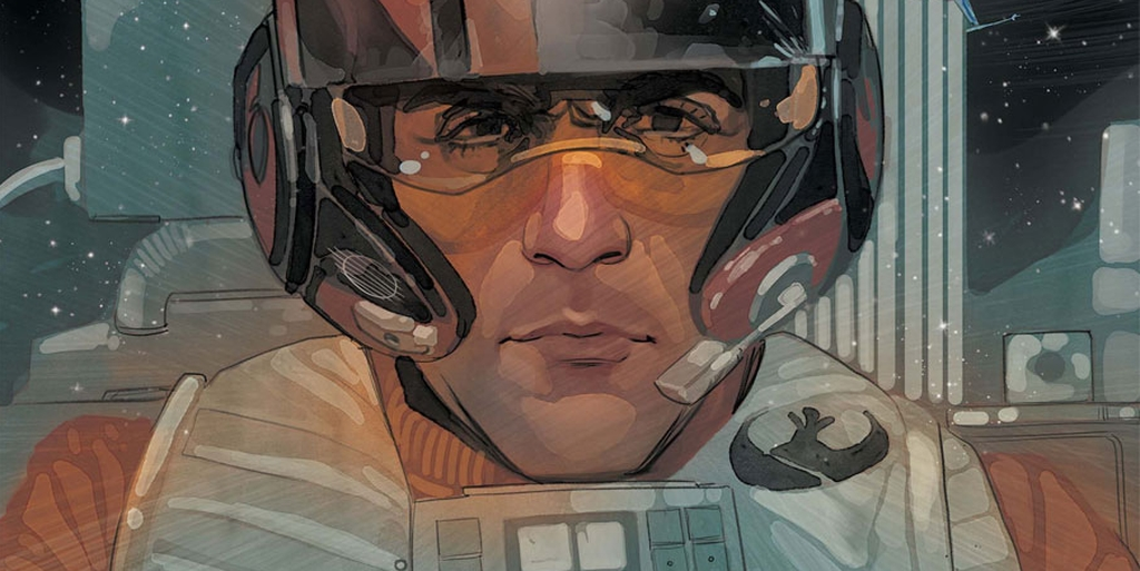 Poe Dameron Comic Book cover art showing Poe in his flight gear