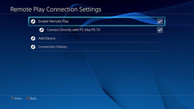Enabling remote play in the settings of a PlayStation 4.