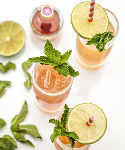 overhead shot of an updated Moscow Mule made with raspberry