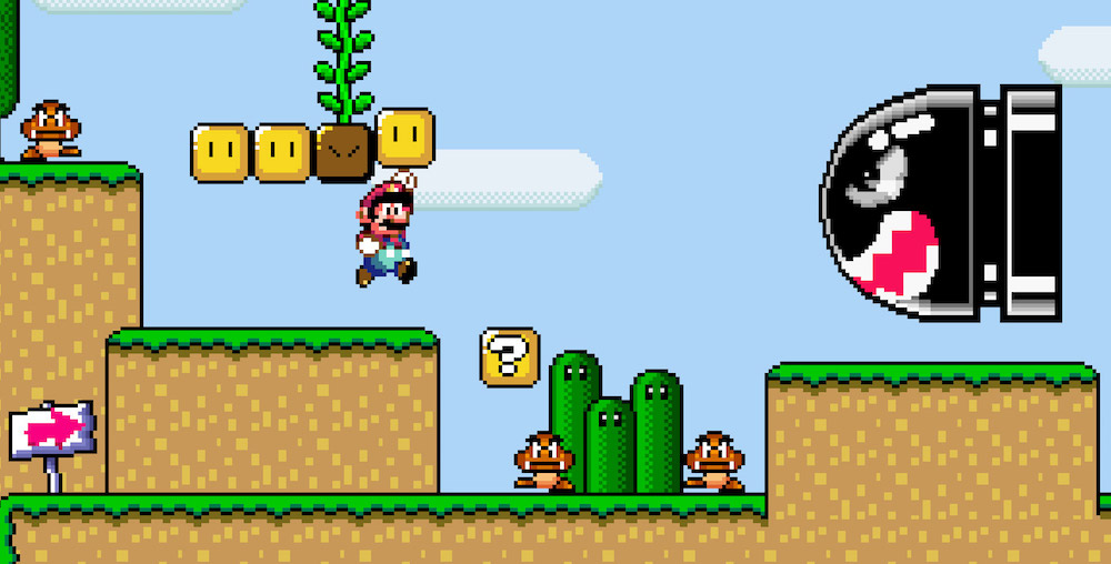 A Bullet Bill rushes at Mario in Super Mario World.