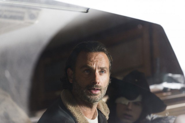 Rick Grimes (Andrew Lincoln) and his son Carl in a scene from The Walking Dead Season 6 Finale