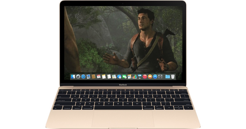 A Photoshopped image of Uncharted 4 running on a Macbook.