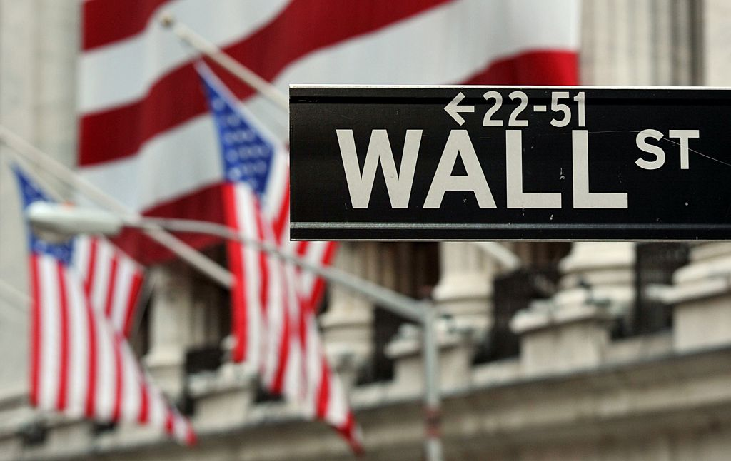 The Wall Street sign near the front of the New York Stock Exchange