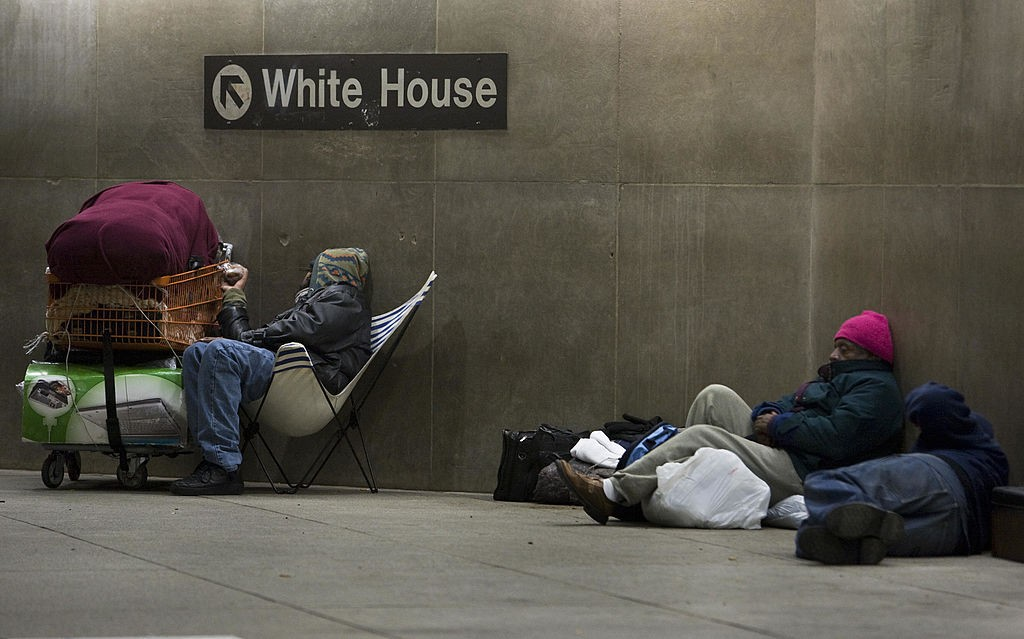 homeless people in subway station