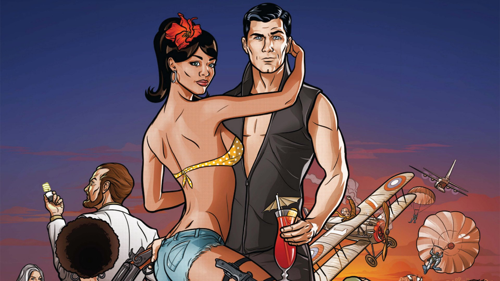 Archer hugs a bikini clad woman while holding a drink in FX's Archer