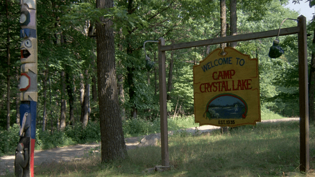 The seemingly idyllic entrance to Camp Crystal Lake is seen in the original 1980 version of 'Friday the 13th.'