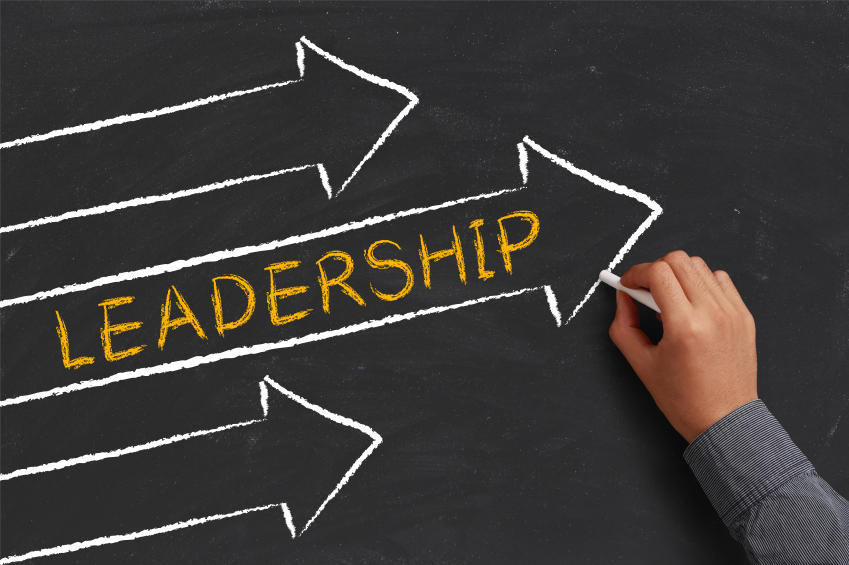 Leadership and management material concept on blackboard