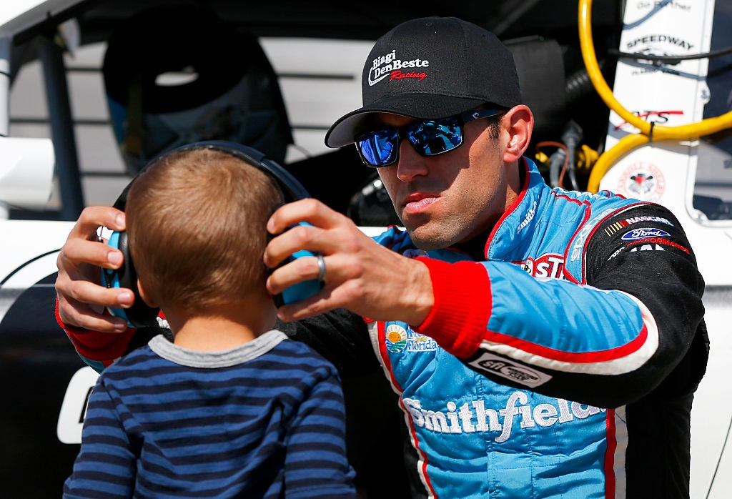 Aric Almirola with his son
