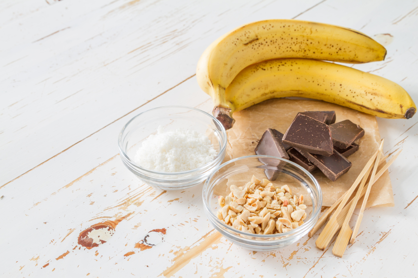 Bananas, chocolate, nuts and sugar