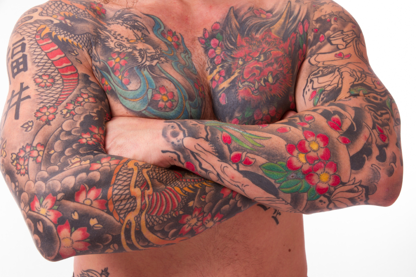 man with tattooed muscular body