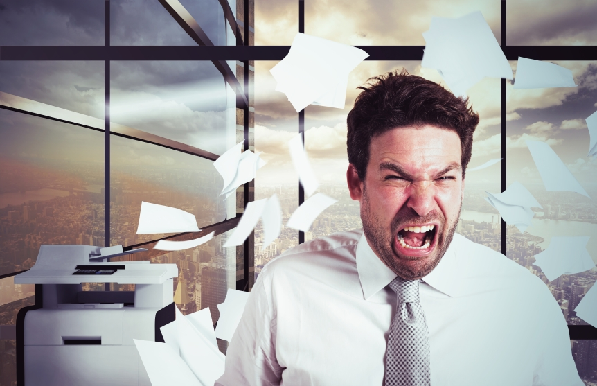 Businessman stressed and angry in office, bad jobs