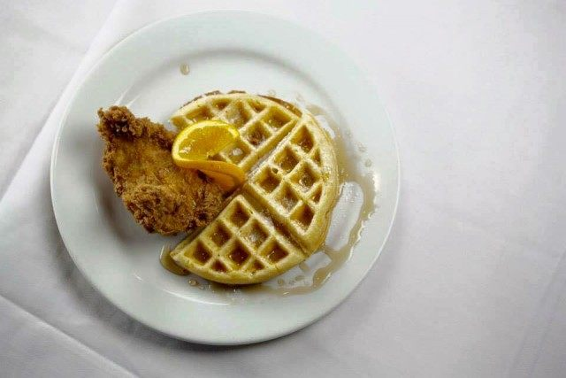 chicken and waffles at cheever's cafe