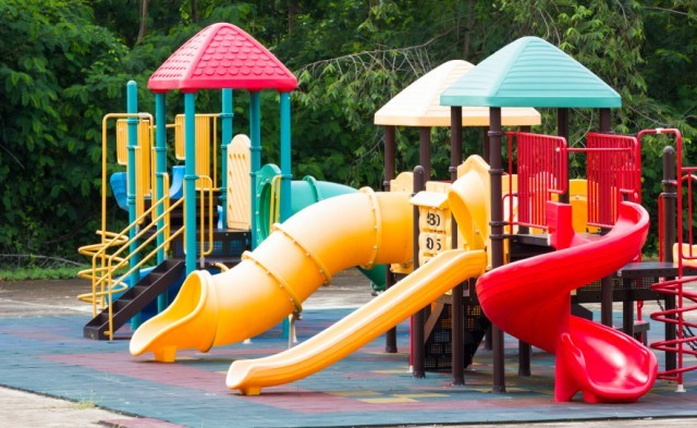 Playground equipment in a park.