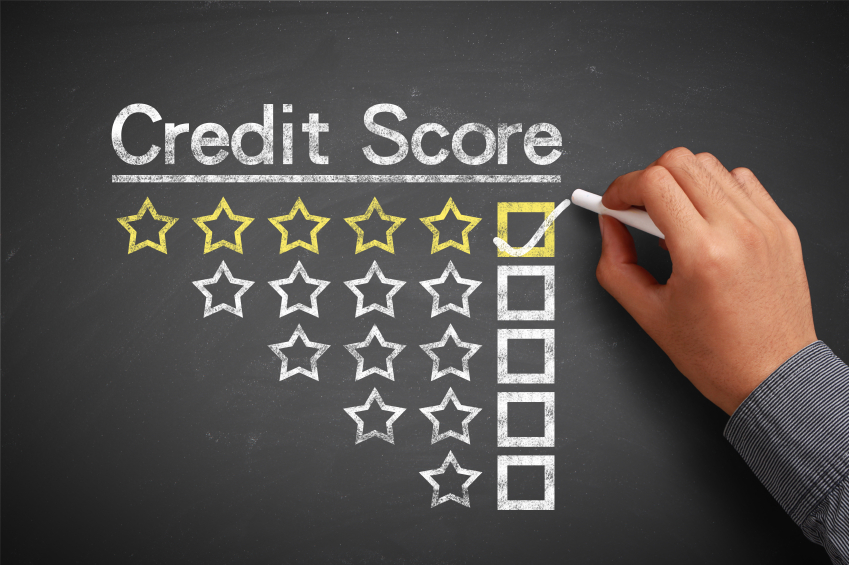 Credit score concept on chalkboard
