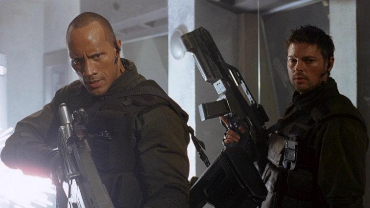 Dwayne Johnson and Karl Urban in Doom