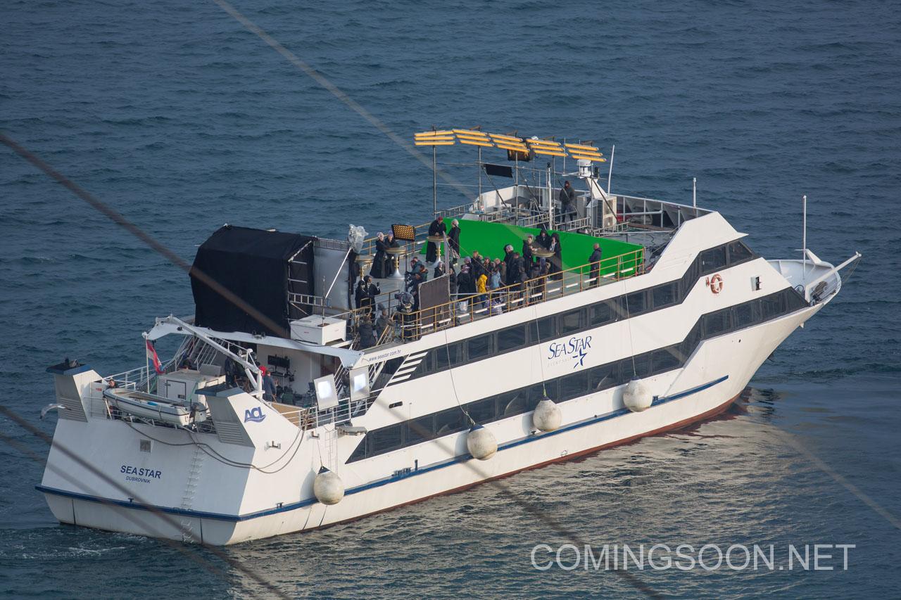 A set photo of a boat off the coast of Croatia