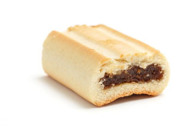 homemade fig-filled cookie on a white background
