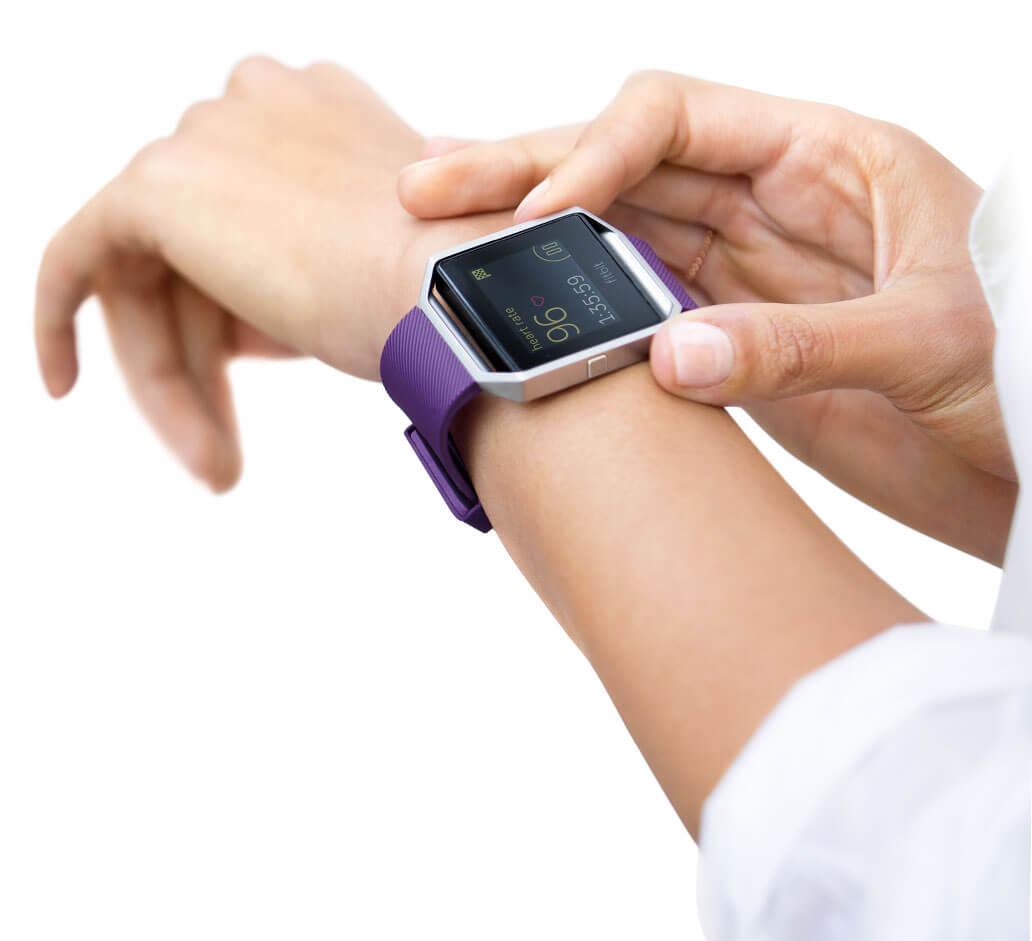 A Fitbit Blaze fitness tracker