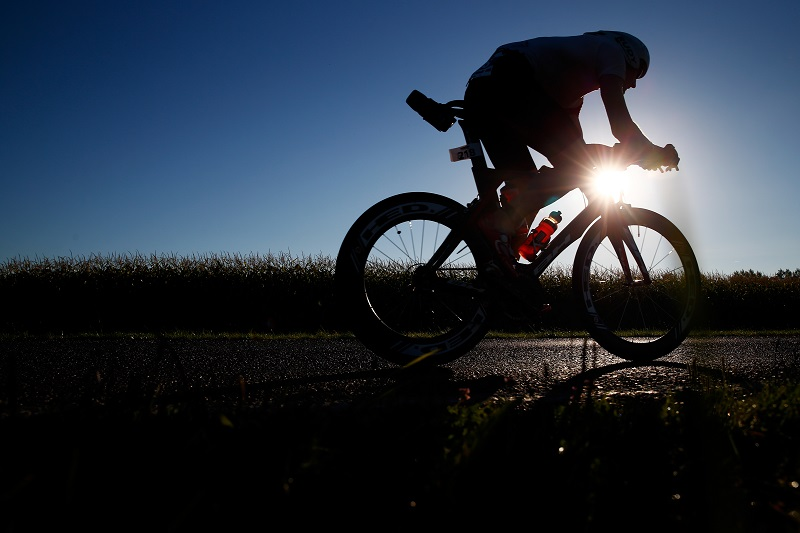 A cyclist gets in a workout during the Ironman Vichy in Vichy, France