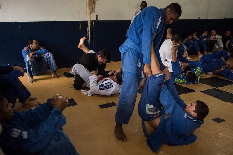 Brazilians practice jiu-jitsu in Rio de Janeiro