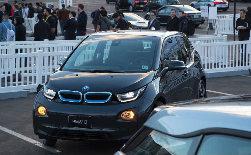 A BMW i3 electric car drives autonomously at the CES 2016 Consumer Electronics Show on January 8, 2016 in Las Vegas, Nevada.