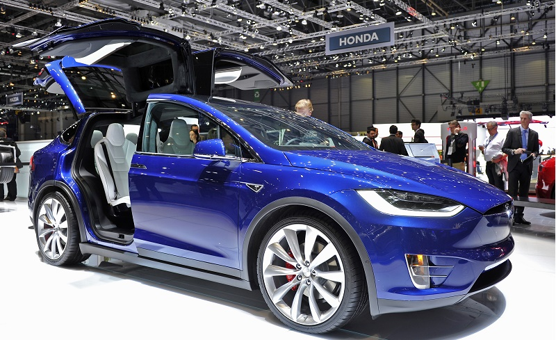 A Tesla Model X is displayed during the Geneva Motor Show 2016 on March 1, 2016 in Geneva, Switzerland. The 86th International auto show will run from March 3 to March 16.