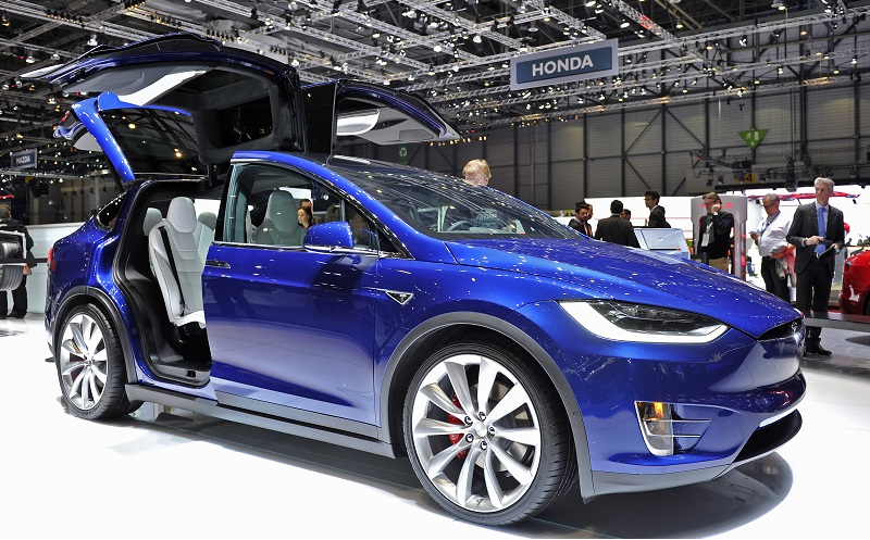 A Tesla Model X is displayed during the Geneva Motor Show 2016 on March 1, 2016 in Geneva, Switzerland. The 86th International auto show will run from March 3 to March 16