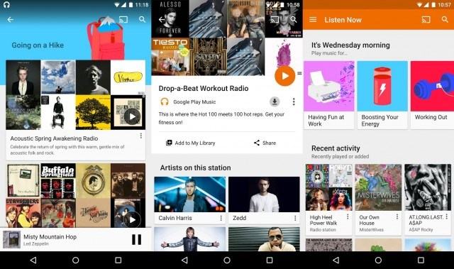 Google Play Music on Android - radio app